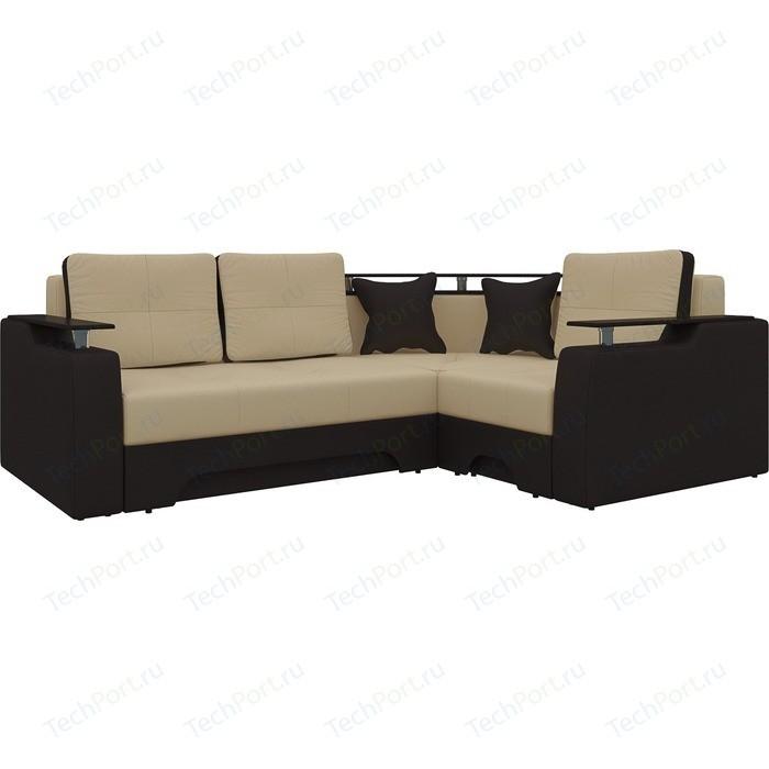 Фото - Диван угловой Мебелико Комфорт эко-кожа бежево-коричн правый диван угловой мебелико комфорт эко кожа бежево коричн левый