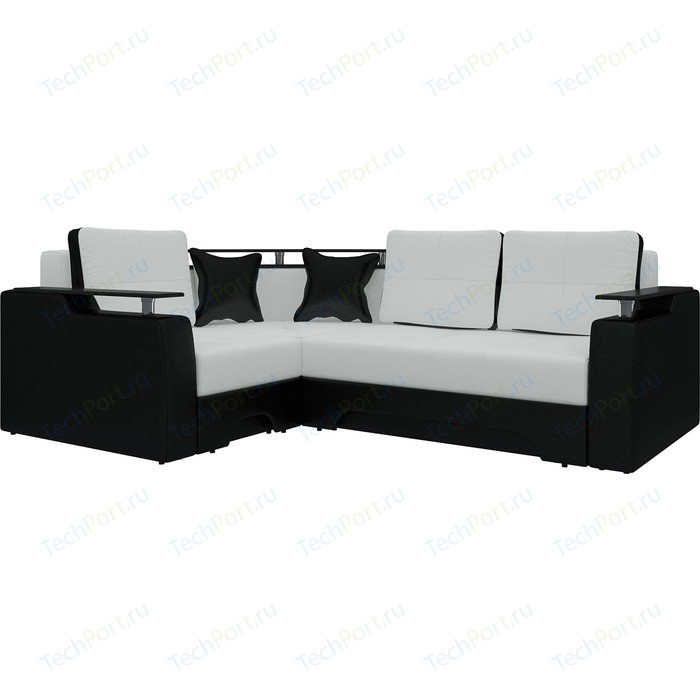 Диван угловой Мебелико Комфорт эко-кожа бело-черный левый