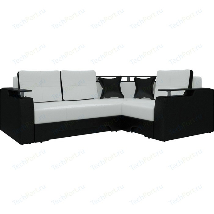 Диван угловой Мебелико Комфорт эко-кожа бело-черный правый