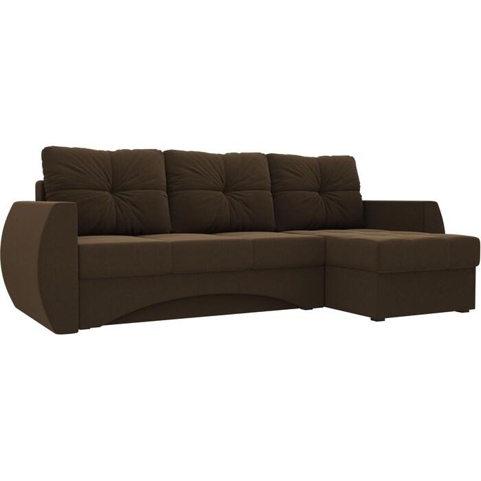 Диван угловой АртМебель Сатурн микровельвет Коричневый правый диван угловой артмебель даллас микровельвет коричневый правый
