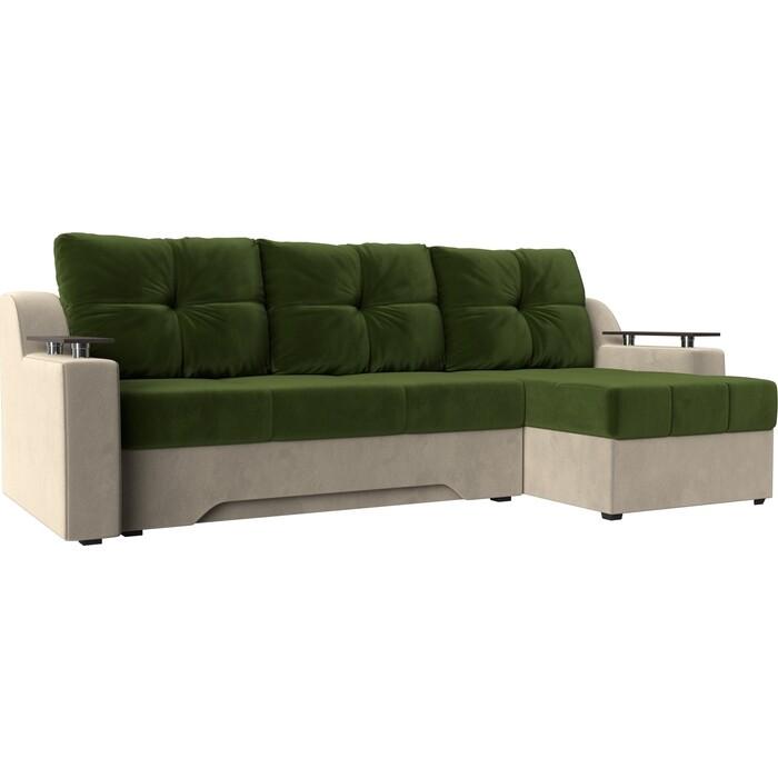 Диван угловой Мебелико Сенатор НПБ микровельвет зелено-бежевый правый
