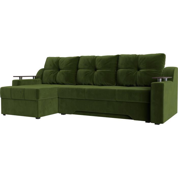 Диван угловой Мебелико Сенатор микровельвет зеленый левый