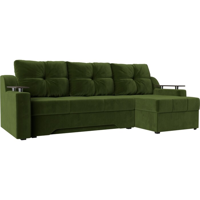 Диван угловой Мебелико Сенатор НПБ микровельвет зеленый правый
