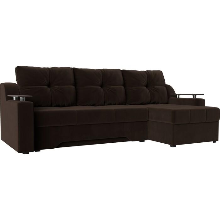 Диван угловой АртМебель Сенатор микровельвет коричневый правый диван угловой артмебель даллас микровельвет коричневый правый