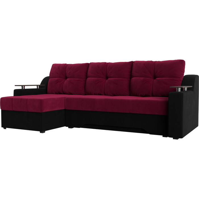 Диван угловой Мебелико Сенатор НПБ микровельвет красно-черный левый