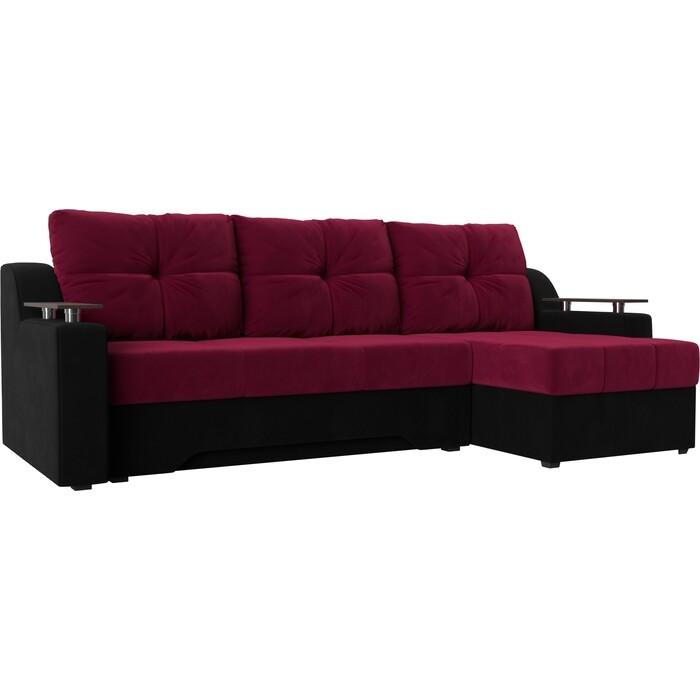 Диван угловой Мебелико Сенатор микровельвет красно-черный правый