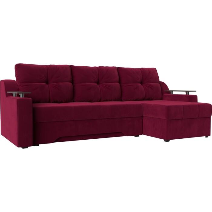 Фото - Диван угловой Мебелико Сенатор микровельвет красный правый диван угловой мебелико сенатор микровельвет бежево коричневый правый