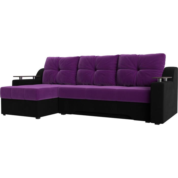 Диван угловой АртМебель Сенатор микровельвет фиолетово-черн левый