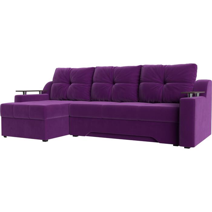 Диван угловой АртМебель Сенатор НПБ микровельвет фиолетовый левый