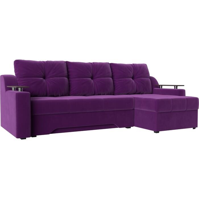 Диван угловой Мебелико Сенатор микровельвет фиолетовый правый