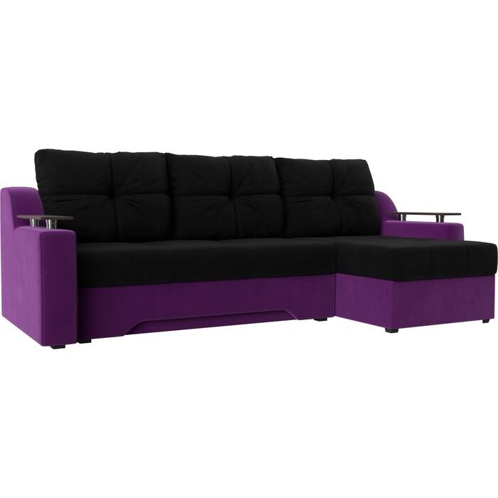 Диван угловой Мебелико Сенатор микровельвет черно-фиолетов правый