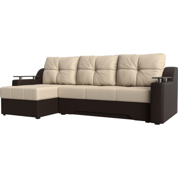 Фото - Диван угловой Мебелико Сенатор эко-кожа бежево-коричн левый диван угловой мебелико комфорт эко кожа бежево коричн левый