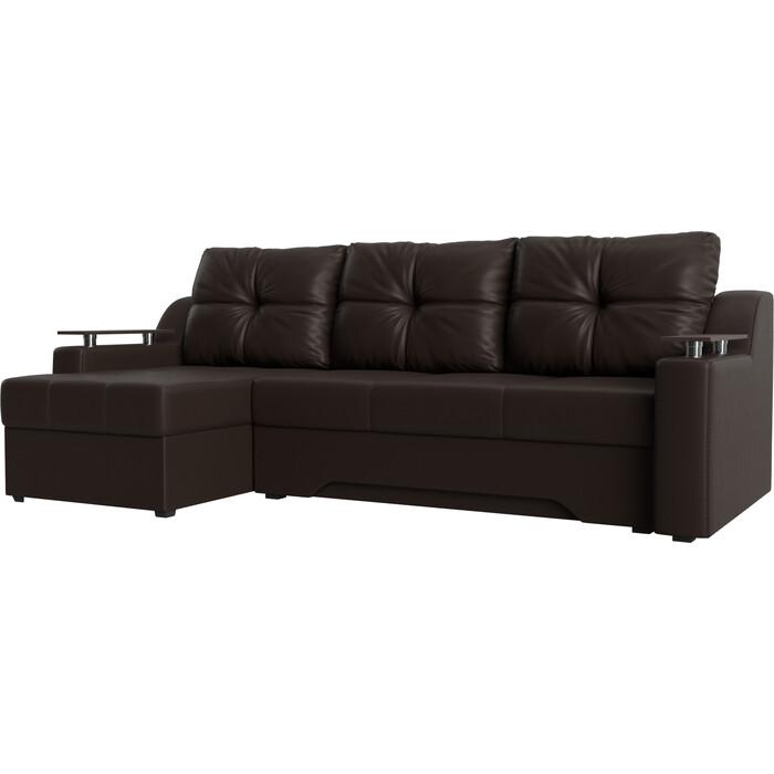 Фото - Диван угловой Мебелико Сенатор НПБ эко-кожа Коричневый левый диван угловой арт мебель сенатор нпб эко кожа бежево коричн левый