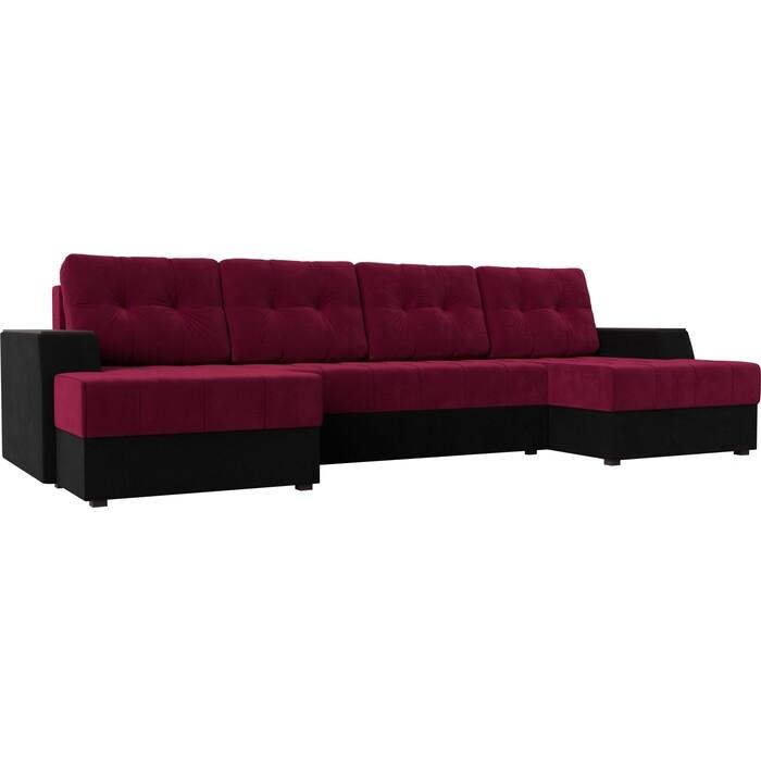 Диван угловой АртМебель Эмир-П микровельвет красно-черный диван угловой артмебель эмир п микровельвет бежевый
