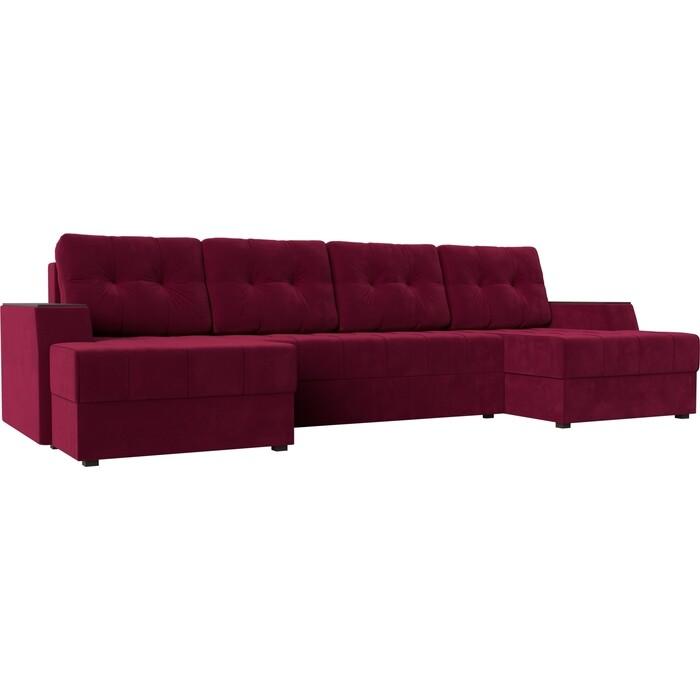 Диван угловой АртМебель Эмир-П микровельвет красный диван угловой артмебель эмир п микровельвет бежевый