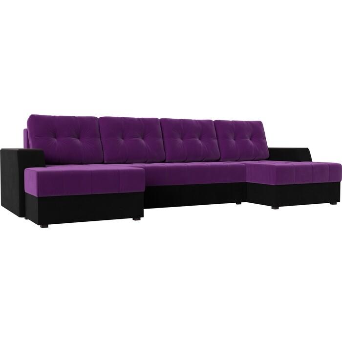 Диван угловой АртМебель Эмир-П микровельвет фиолетово-черн диван угловой артмебель эмир п микровельвет бежевый