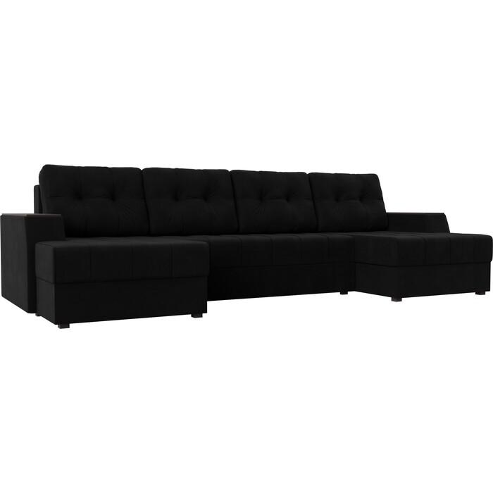 Диван угловой АртМебель Эмир-П микровельвет черный диван угловой артмебель эмир п микровельвет бежевый