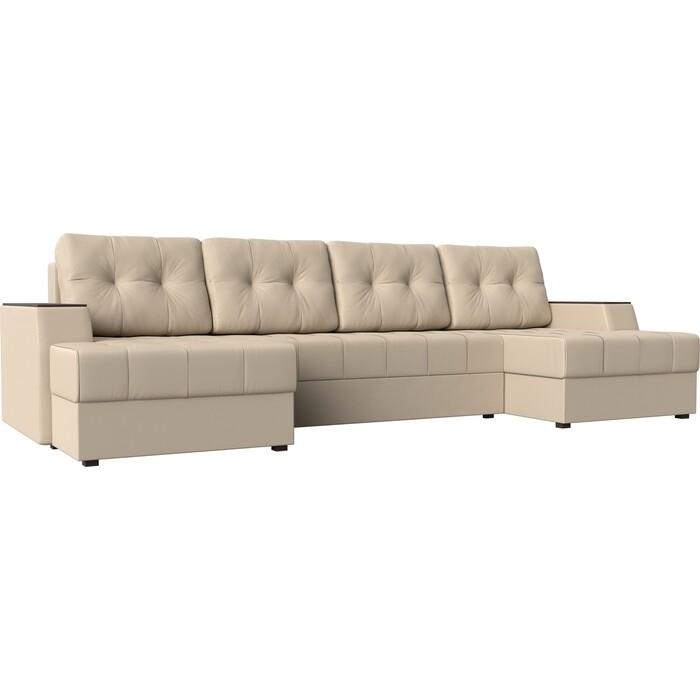 Диван угловой АртМебель Эмир-П эко-кожа бежевый диван угловой артмебель эмир п микровельвет бежевый