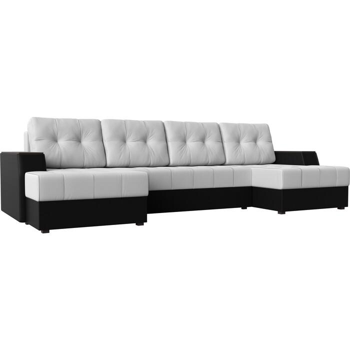 Диван угловой Мебелико Эмир-П эко-кожа бело-черный