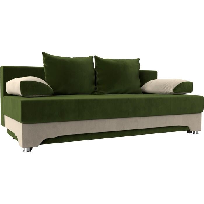 Фото - Диван-еврокнижка Мебелико Ник-2 микровельвет зелено-бежевый диван еврокнижка мебелико пазолини микровельвет зелено бежевый
