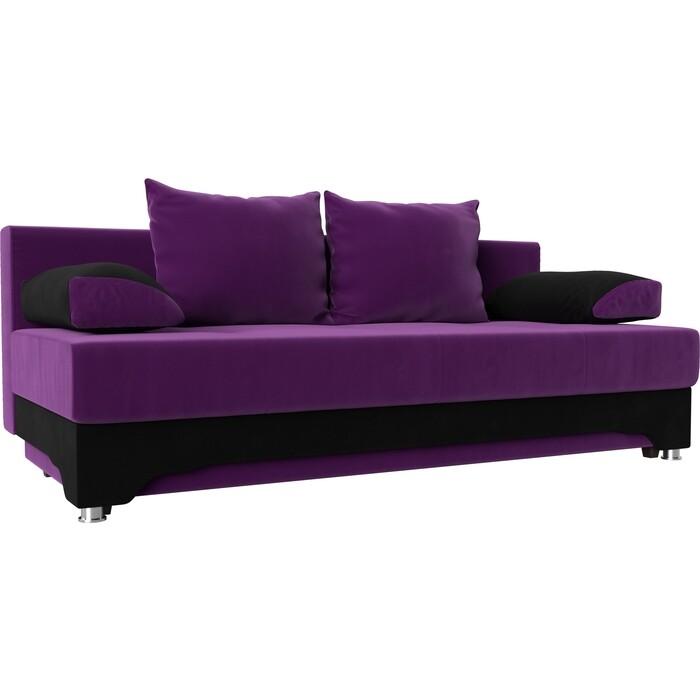 Диван-еврокнижка АртМебель Ник-2 микровельвет фиолетово-черн