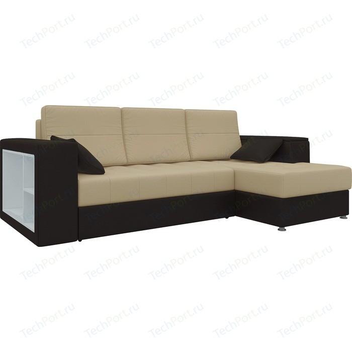 Фото - Диван угловой Мебелико Атлантис эко-кожа бежево-коричн правый диван угловой мебелико комфорт эко кожа бежево коричн левый