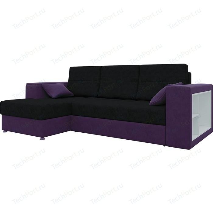 Диван угловой АртМебель Атлантис микровельвет черно-фиолетов левый