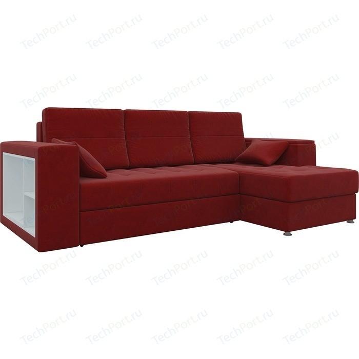 Диван угловой АртМебель Атлантис микровельвет красный правый диван угловой артмебель сатурн микровельвет красный правый