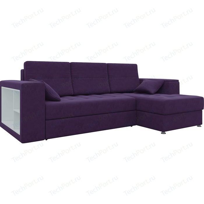 Диван угловой АртМебель Атлантис микровельвет фиолетовый правый