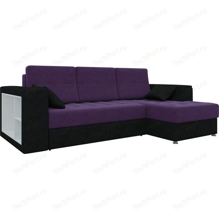 Диван угловой АртМебель Атлантис микровельвет фиолетово-черн правый