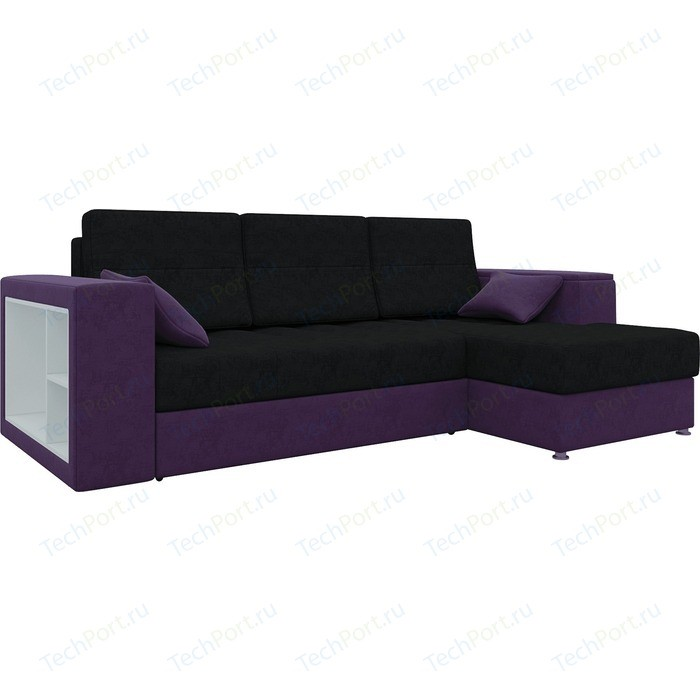 Диван угловой АртМебель Атлантис микровельвет черно-фиолетов правый