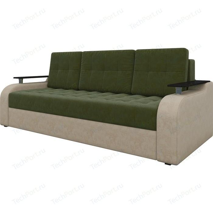 Диван-еврокнижка АртМебель Ричард микровельвет зелено-бежевый диван диван ричард ричард