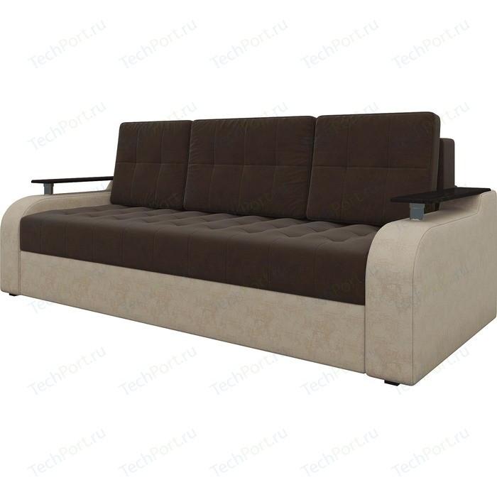 Диван-еврокнижка АртМебель Ричард микровельвет коричнево-бежев диван диван ричард ричард