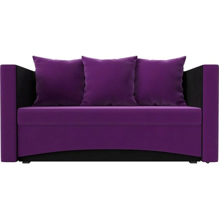 Кушетка Мебелико Принц микровельвет фиолетово-черн левый