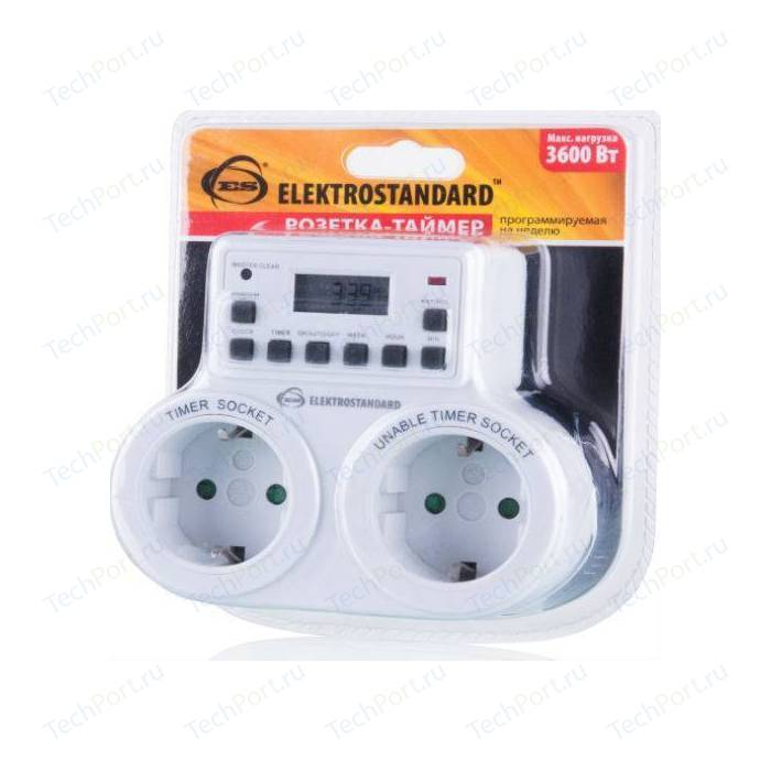 Розетка-таймер Elektrostandard TMH-E-5 16A x2 IP20 Белый 4690389032424