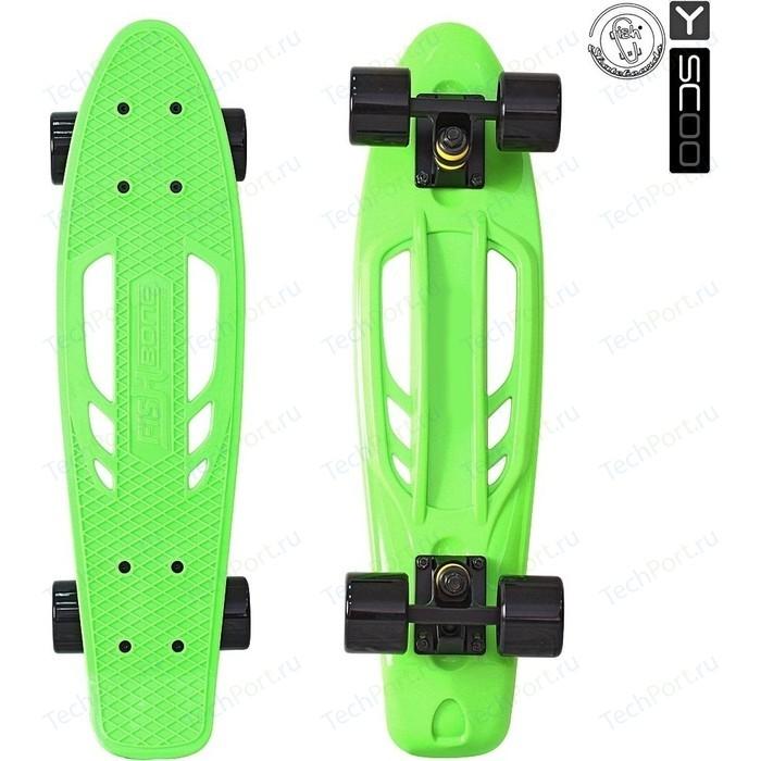 Скейтборд RT 405-G Skateboard Fishbone с ручкой 22 винил 56,6х15 сумкой GREEN/black