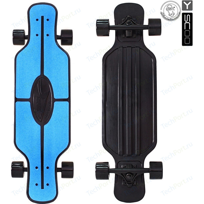 Скейтборд RT 408-B Longboard Shark TIR 31 пластик 79х22 с сумкой BLUE/black