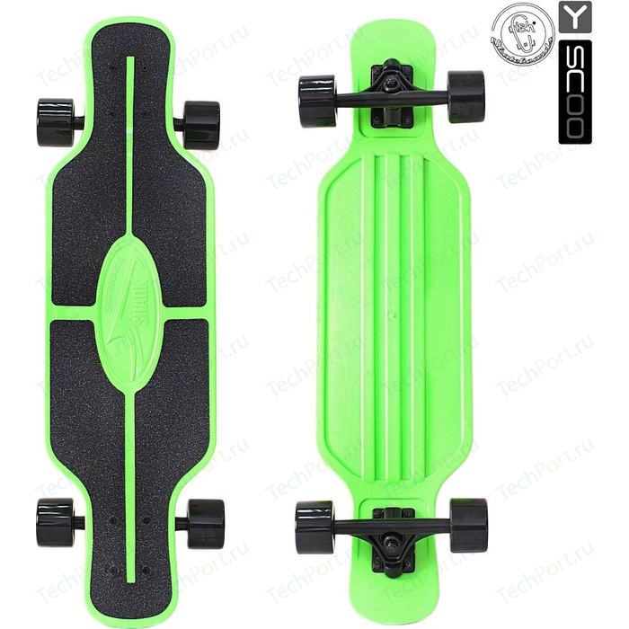 Скейтборд RT 408-G Longboard Shark TIR 31 пластик 79х22 с сумкой GREEN/black