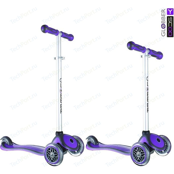 Самокат 3-х колесный Y-Scoo RT GLOBBER My Free NEW Technology purple с блокировкой колес