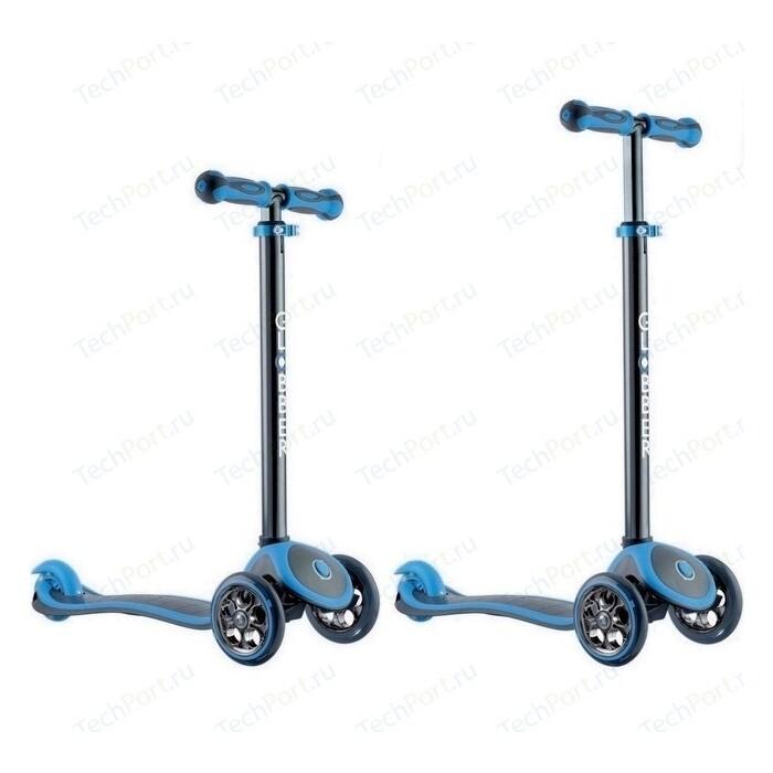 Самокат 3-х колесный Y-Scoo RT GLOBBER My free TITANIUM neon blue с блокировкой колес