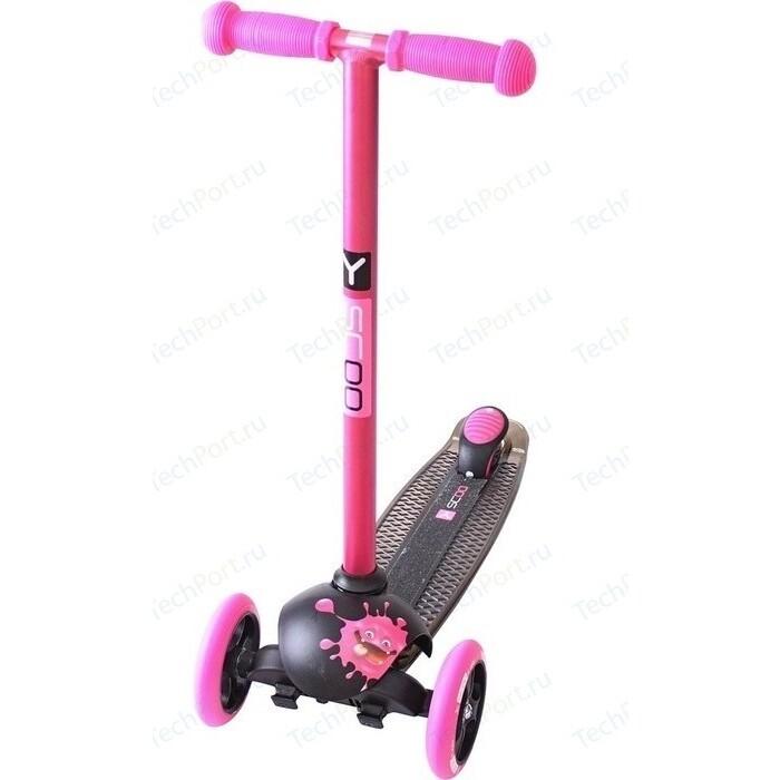 Самокат 3-х колесный Y-Scoo RT TRIO DIAMOND 120 Monsters 1 высота с блокировкой колес pink Zoi