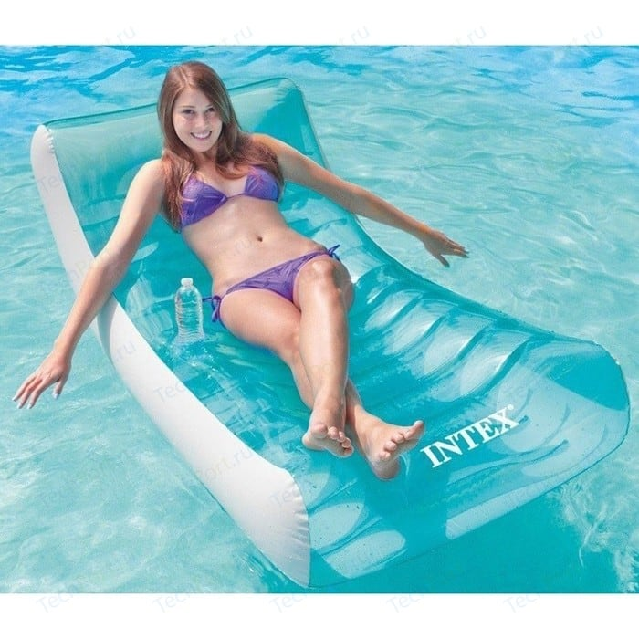 Матрас для плавания Intex шезлонг 58856/58856NP (для плавания188х99см с подстаканником) надувной