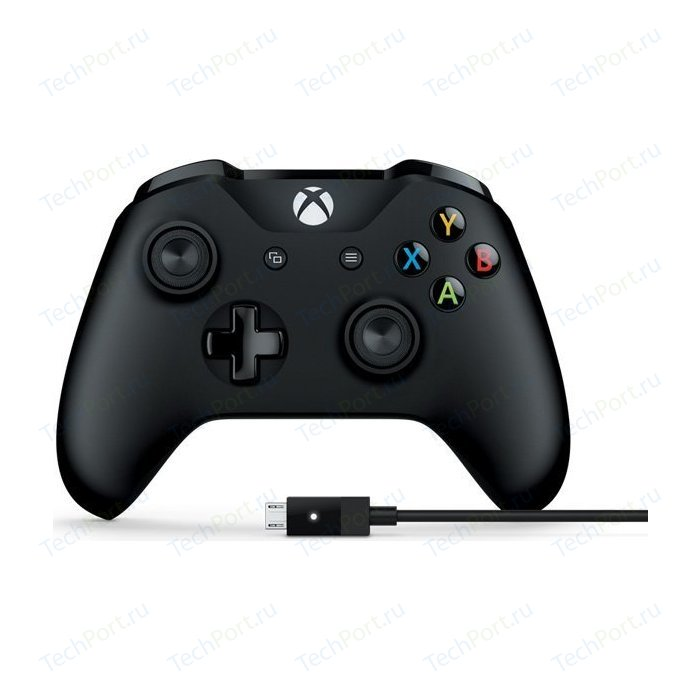 Фото - Геймпад Microsoft XBox One Controller black + Cable (4N6-00002) геймпад microsoft xbox one controller black cable 4n6 00002
