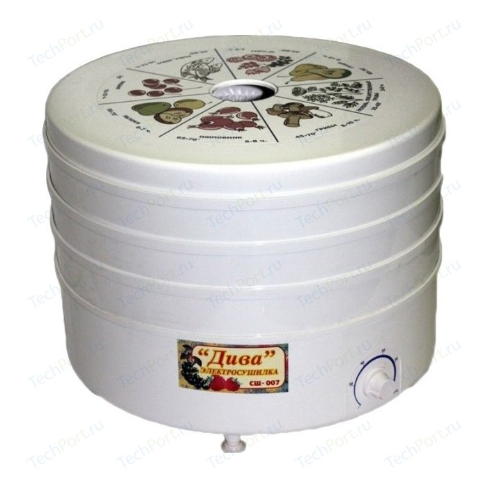 Сушилка для овощей Ротор Дива СШ-007 с 5 прозрачными решетками в цветной упаковке