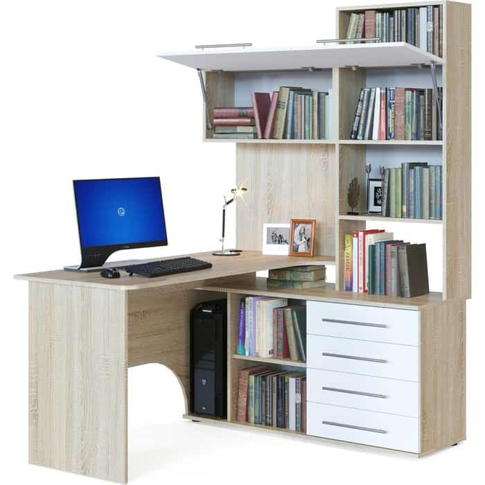 Компьютерный стол СОКОЛ КСТ-14П дуб сонома/белый