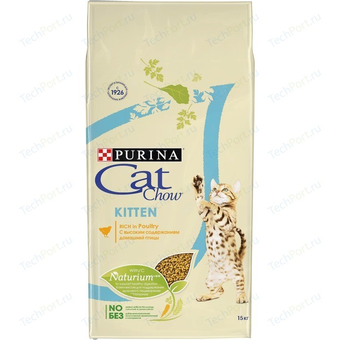 Сухой корм CAT CHOW Kitten rich in Poultry с домашней птицей для котят 15кг (12118695)