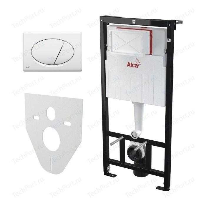 Инсталляция для унитаза AlcaPlast AM101/1120 с белой клавишей M070 шумоизоляцией M91 (AM101/1120-4:1 RUS SET+M70)