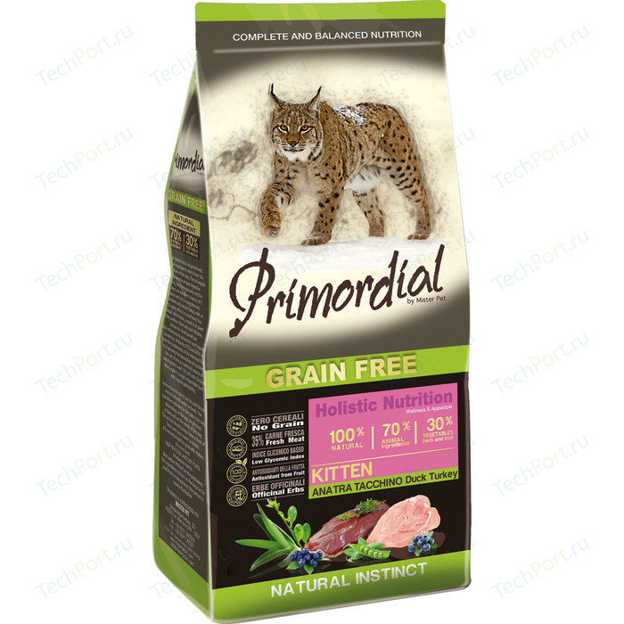 Сухой корм Primordial Grain Free Holistic Kitten with Duck & Turkey беззерновой с уткой и индейкой для котят 2кг (MGSP1002)