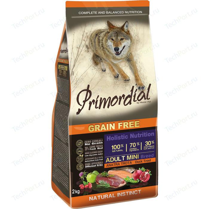 Сухой корм Primordial Grain Free Holistic Dog Adult Mini Breed with Duck & Trout беззерновой с уткой и форелью для собак мелких пород 2кг (MSP5102)