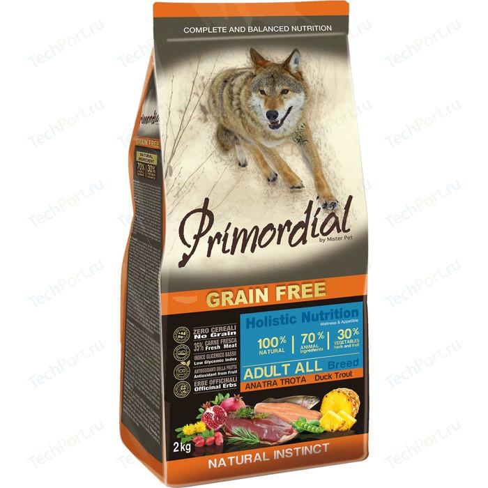Сухой корм Primordial Grain Free Holistic Dog Adult All Breed with Duck & Trout беззерновой с уткой и форелью для собак всех пород 2кг (MSP5402)